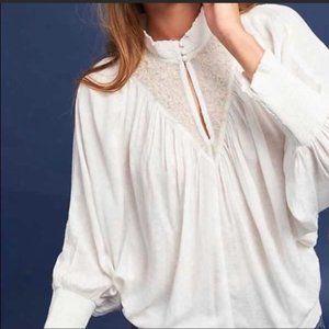 Feather Bone ANTHROPOLOGIE EDDA high-neck blouse